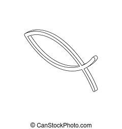 Ichthys fish symbol, isometric 3d