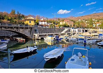 Icici village waterfront and harbor in Opatija riviera, ...