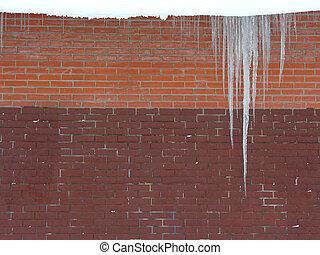 icicle. brick wall