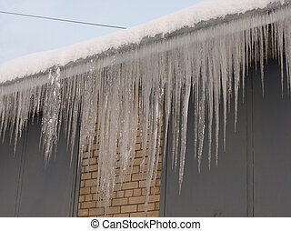 icicle hanging from the roof