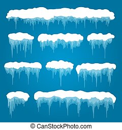 Icicles and snowdrifts vector illustration. Snowed piles and...
