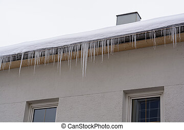icicles, e, neve, ligado, a, telhado, de, um, casa