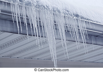 Icicles from Gutter - Icicles hanging on gutter eaves of...
