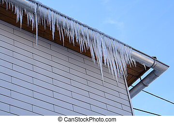 Icicles hang from the gutter