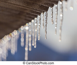 Icicles hang from the roof in winter