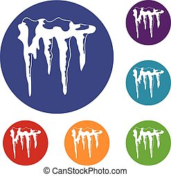 Icicles icons set in flat circle red, blue and green color...