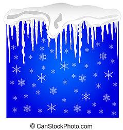 icicles, inverno, fundo, neve