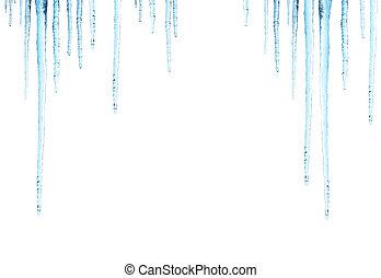Icicles. Isolated on white background