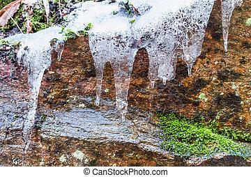 icicles, luz solar, rocha