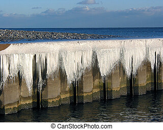 Icicles on a pier