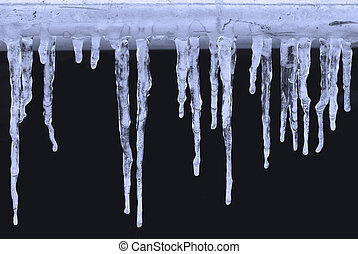 Icicles on black background