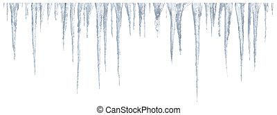 Icicles set on white background - Set of icicles on white ...
