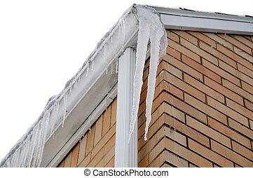 icicyles, 上に, 屋根