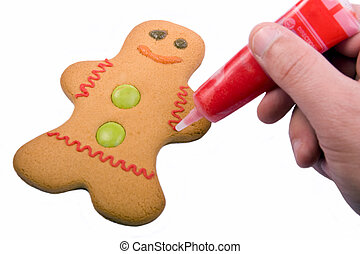 Icing a gingerbread person