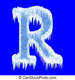 Icing alphabet. Letter R. Upper case. With clipping path
