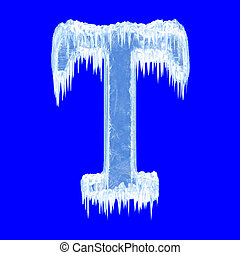Icing alphabet. Letter T. Upper case. With clipping path