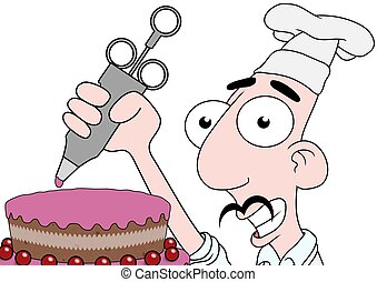 Icing cake - Illustration of a Chef icing a cake