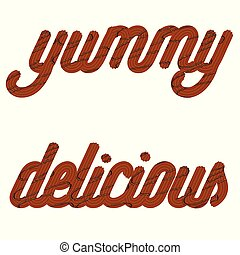 "icing, ""yummy"", text., chocolate, typography., tentando, glazed, ""delicious"", palavras, creme"