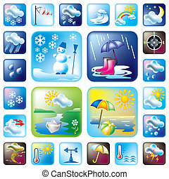 vector set weather and season symbols