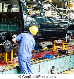 ickup, producción de camión, línea