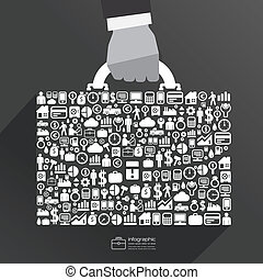 ico, affari, sacco mano, infographic, sagoma, uomo affari,...