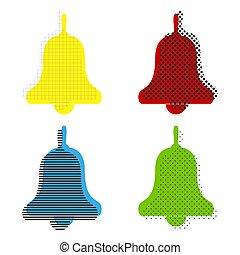 ico, bleu, cloche, signe., reveil, main, jaune, vert, vector., rouges