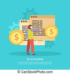 ICO Blockchain Flat Background - ICO initial currency...