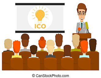 Ico business presentation concept vector flat illustration