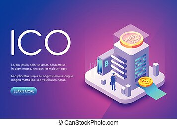 ICO cryptocurrency business vector illustration