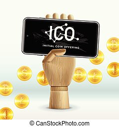 ICO Initial Coin Offering Business Internet Technology Concept on a screen of smartphone device, vector illustration.