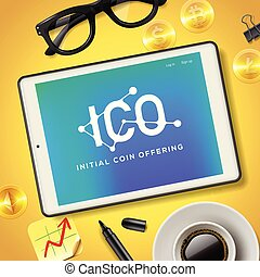 ICO Initial Coin Offering Business Internet Technology Concept on a screen of tablet device, vector illustration.