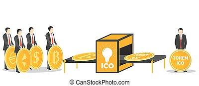 ico, muestra, intercambio, concepto, vector, ilustración