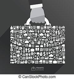 ico, negócio, saco mão, infographic, modelo, homem negócios,...
