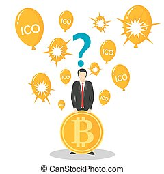 ICO or initial coin offering concept vector illustration