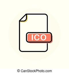 ico, uitbreiding, formaat, kleur, bestand, lijn, pictogram