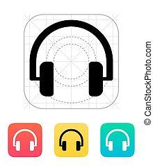 icon., áudio, fones
