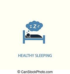 icon., élément, 2, toile, symbole, simple, dormir, illustration., mobile, concept, bleu, être, boîte, design., sain, utilisé, coloré
