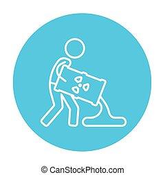 icon., óleo, linha, barril, homem