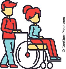 icon., διαμέρισμα , γυναίκα , θηλασμός , αναπηρική καρέκλα , κάνω βόλτα , concept., άνθρωποι , editable, απομονωμένος , εικόνα , νέος , ανάπηρος , γραμμικός , μικροβιοφορέας , stroke., φόντο , άσπρο , προσοχή , γραμμή , άντραs