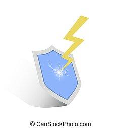 icon., μικροβιοφορέας , αιγίς , illustration., αστραπή
