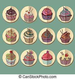 icon., カラフルである, cupcake