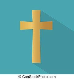 icon-, ベクトル, キリスト教徒, 金, 交差点, イラスト
