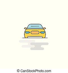 icon., ベクトル, 平ら, 自動車