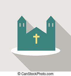 icon., ベクトル, 漫画, イラスト, 教会