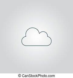 icon., ベクトル, 雲, 容易である, edit.