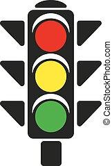 icon., 交通, 十字路, 手旗信号, シンボル。, ライト, stoplight, 平ら