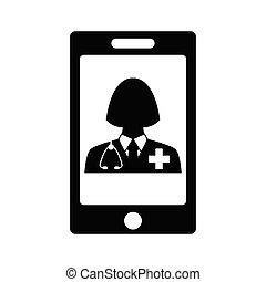 icon., 印, オンラインで, ベクトル, 医者, 聴診器