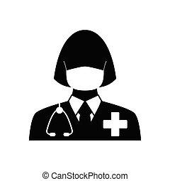 icon., 印, ベクトル, 医者, 聴診器