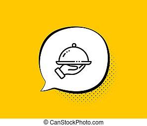 icon., 印。, ホテルの部屋, ベクトル, 夕食, 線, 食物, service., レストラン