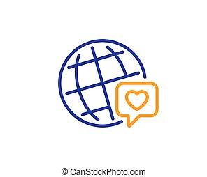 icon., 友人, ベクトル, ブランド, 愛, 印。, ambassador., 線, 世界, 友情